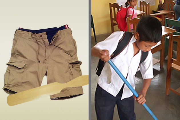 Wearing double pants for their spanking vs sweeping the class for ponishment