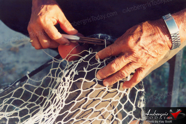 Pablo Guerrero making a fish gill net