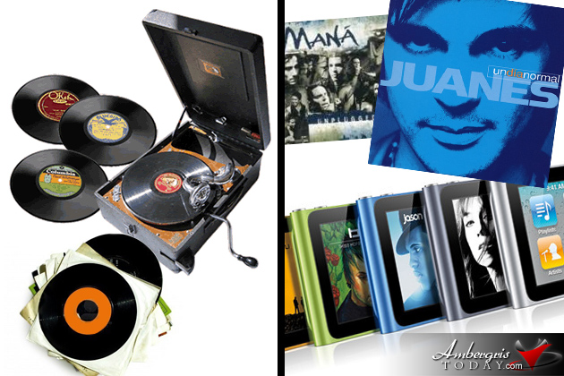 Vinyl Records and ipad nano -modern and old music