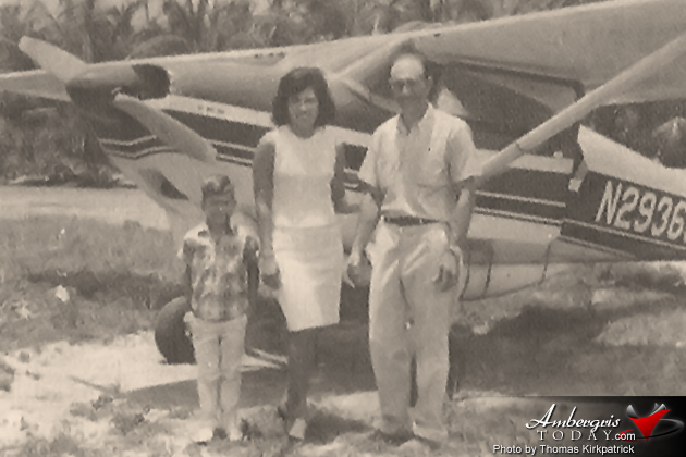John Greif II, Celi Nunez McCorkle with son John Greif III at the<br /><br /> San Pedro Airstrip