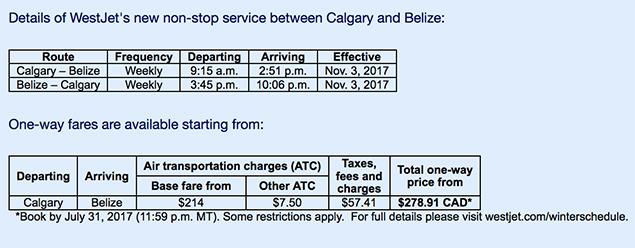 WestJet Announces New Non-Stop Flight Between Calgary and Belize