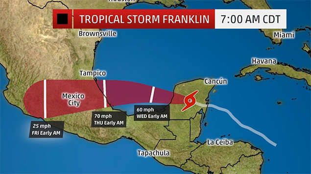 All Clear in Belize as Tropical Storm Franklin Makes Landfall in Mexico
