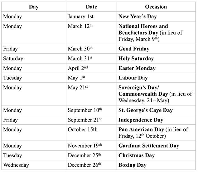 September Calendar 2019 Belize