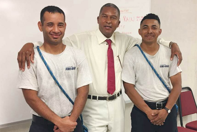 Belize's Fire Chief Visits Belizean Firefighters Studying in Virginia