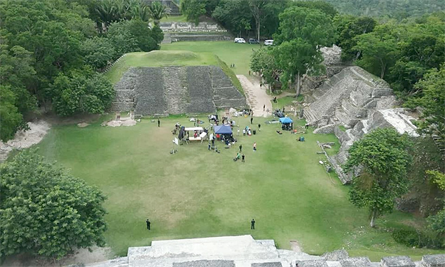 Reina del Sur 2 film set at Xunantunich Maya Archaeological Site, Cayo, Belize