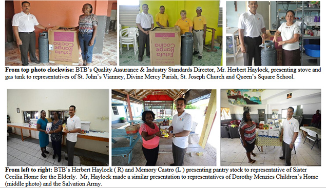 The BTB Donates Kitchen Equipment and Food Supplies to Schools and NGO's in Belize City