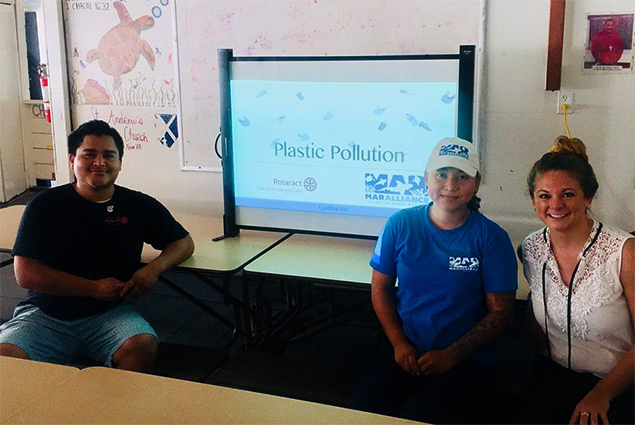 Rotaract Club of Ambergris Caye Donate Trash Bins to Schools