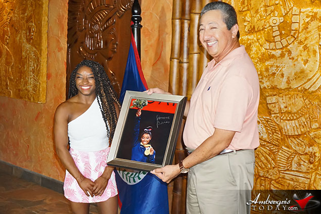 Simone Biles Presented Key to San Pedro Town, Belize