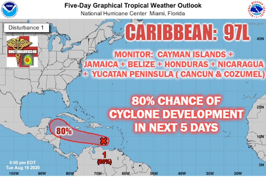 Belize Closely Monitoring Tropical Disturbance in Caribbean