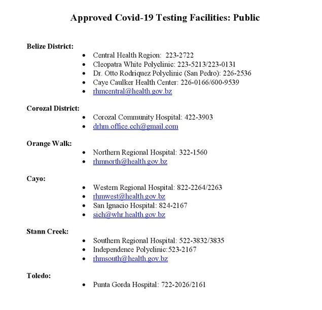 Ministry of Health and Wellness Announces Approved COVID-19 Testing Sites