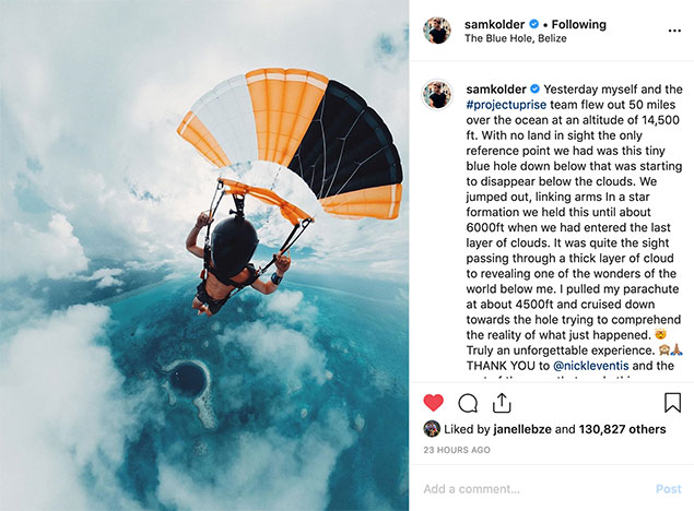 Famous Photographers Skydive the Belize Blue Hole, Sam Kolder