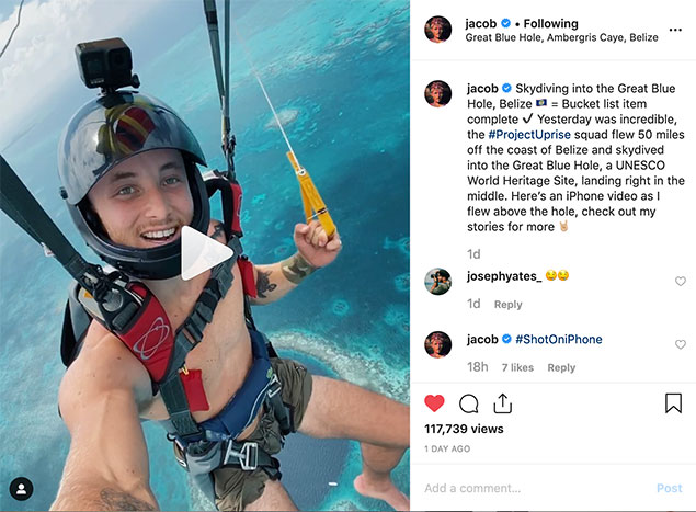 Famous Photographers Skydive the Belize Blue Hole, Jacob Riglin