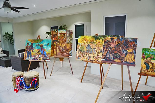 Belizean Artist Pen Cayetano Art Exhibit during Diamond Lodge Opening Night