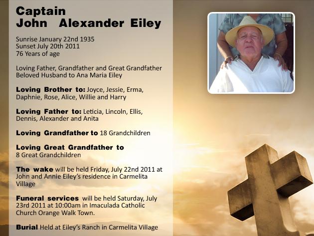 John Alexander Eiley Funeral