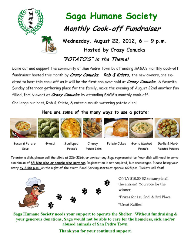 Saga Humane Society Monthly Cook-Off Fundraiser