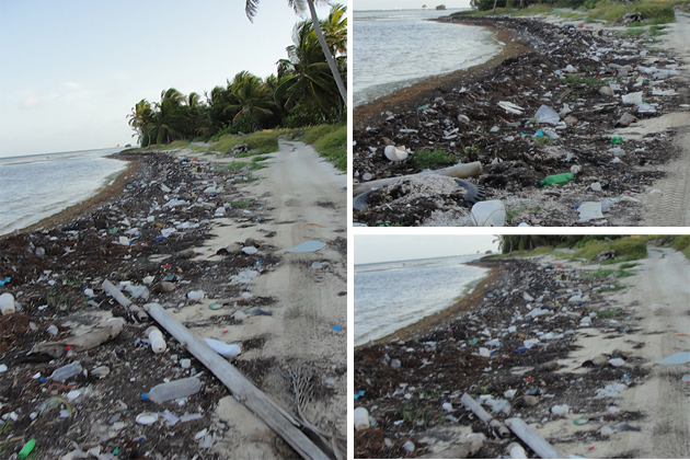 Garbage on the beach in North Ambergris Caye