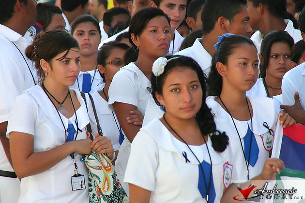 San Pedro High School students wore black ribbons