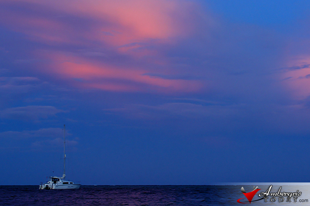 Sunset creates beautiful colors on the east in San Pedro, Ambergris Caye