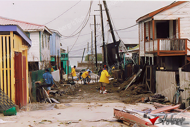 Homes destroyed by Hurricane Keith 2000 in San Pedro, Belize