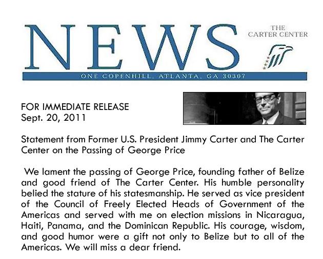 Jimmy Carter Condolence -George Cadle Price