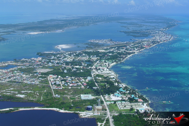 Aerial of San PedroTown, Ambergris Caye, Belize