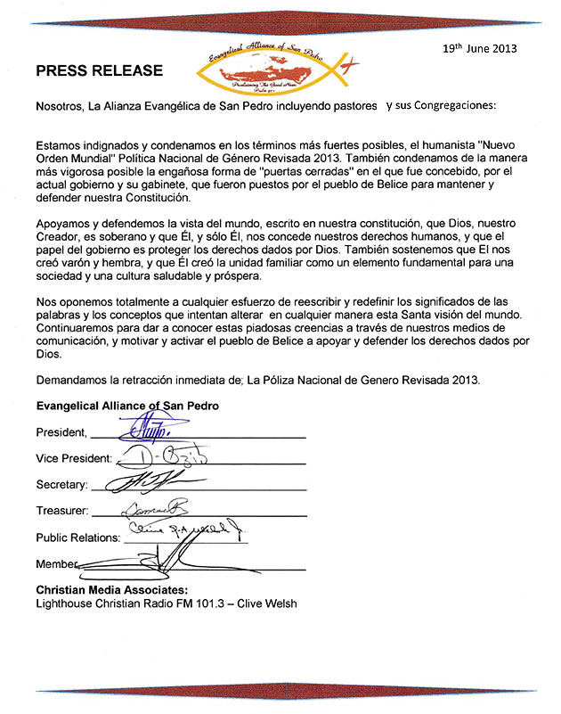 Evangelical Alliance of San Pedro Objects Belize's National Gender Policy