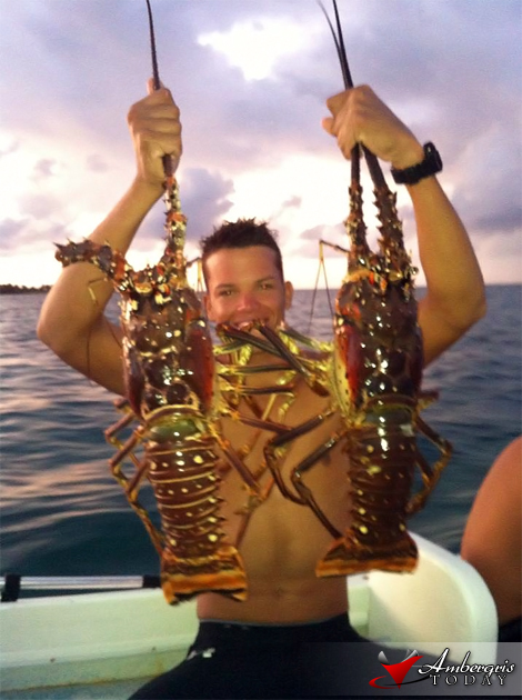 Monster Lobsters in Belize, Jody Leslie boasts a great catch