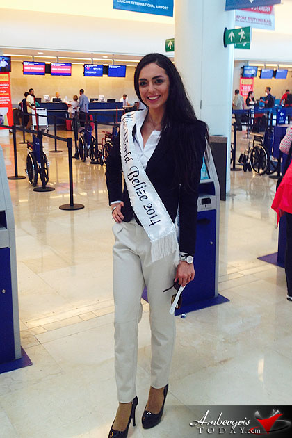 Miss World Belize Raquel Badillo Arrives in London