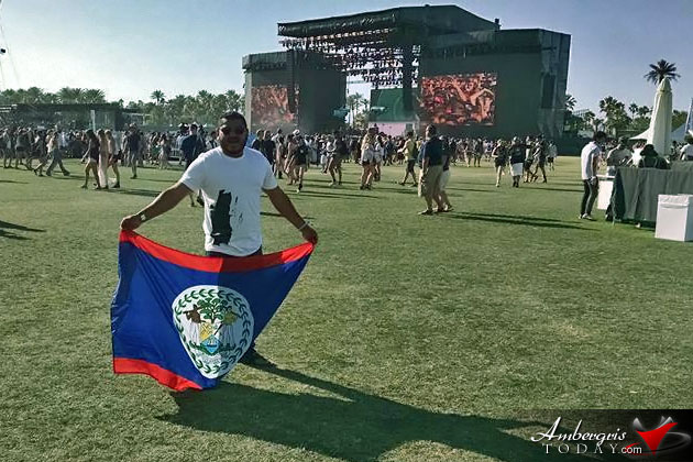 Belize Flag Proudly Waved at Coachella Music Festival