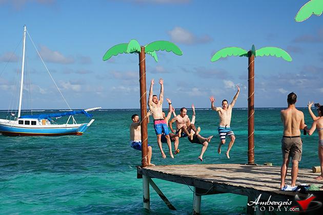 Summer Swim Fun at Palapa Bar, San Pedro, Ambergris Caye, Belize