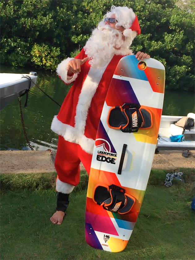 Santa Claus kitesurfing in Belize