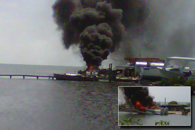 Boat Explodes in Caye Caulker - Picture Courtesy of Mark Walker