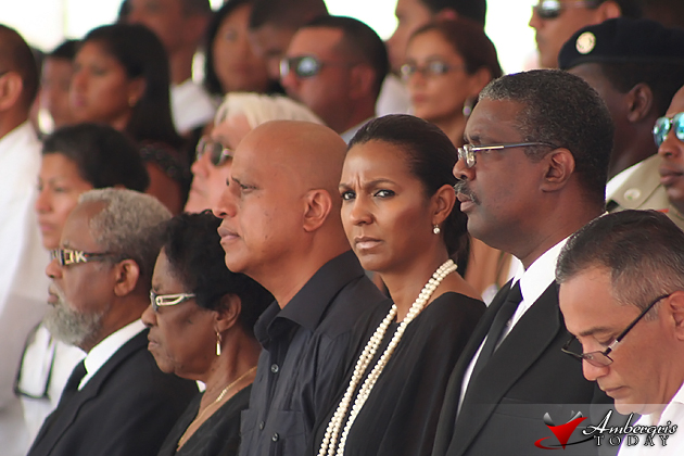 Prime Minister of Belize, Honorable Dean Barrow and Kim Simplis Barrow at the funeral of Hon. George Cadle Price