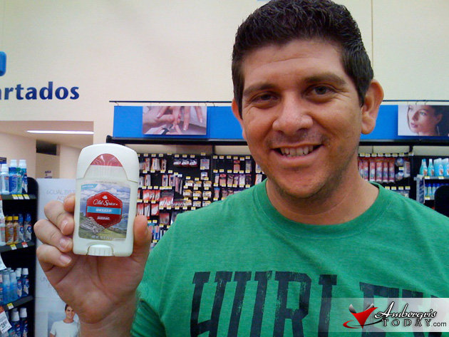 Dorian Nuñez, Owner/Editor of AT, found the the New Old Spice Anti-Perspirant - Belize at Wal-mart in Merida!