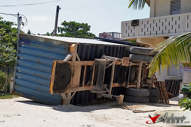 Cargo Container Topples Over