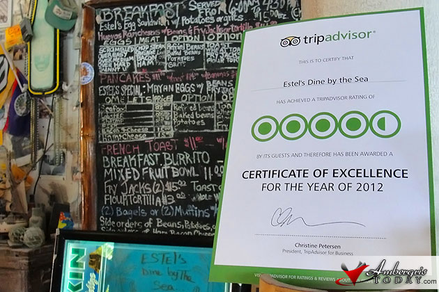 Estel's Dine by the Sea receives Award of Excellency from TripAdvisor