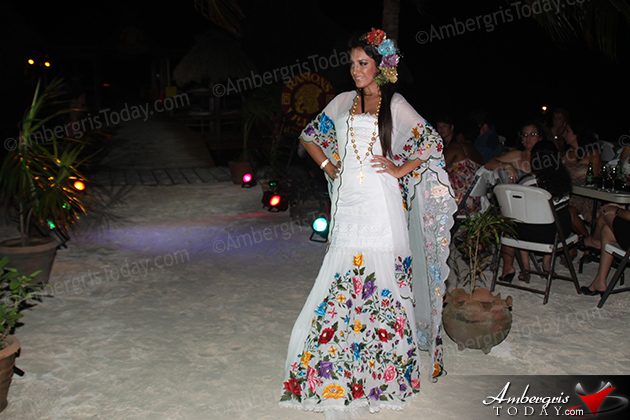Miss Mexico's Cultural Dress at the International Costa Maya Festival -Noche Tropical at Ramon's Village