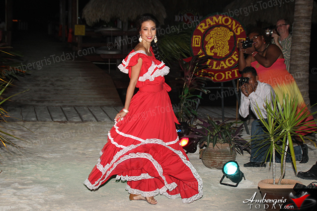 Miss Costa Rica's Cultural Dress at the International Costa Maya Festival -Noche Tropical at Ramon's Village