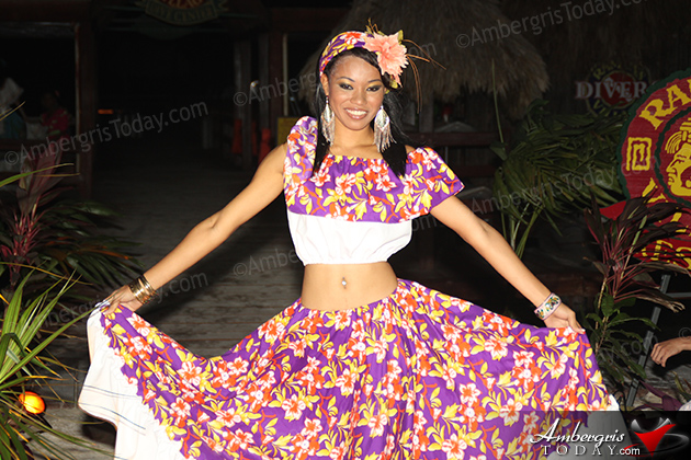 Miss Belize's Cultural Dress at the International Costa Maya Festival -Noche Tropical at Ramon's Village