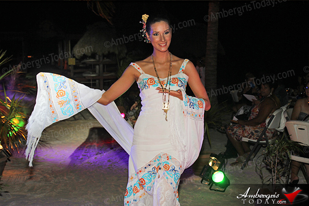 Miss Panama's Cultural Dress at the International Costa Maya Festival -Noche Tropical at Ramon's Village