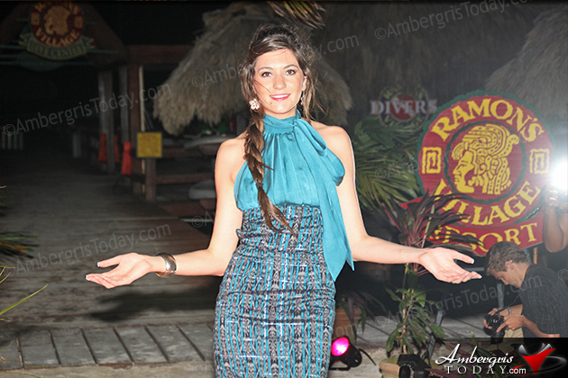 Miss Guatemala's Cultural Dress at the International Costa Maya Festival -Noche Tropical at Ramon's Village