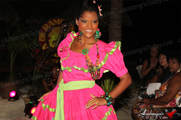 Miss Nicaragua's Cultural Dress at the International Costa Maya Festival -Noche Tropical at Ramon's Village