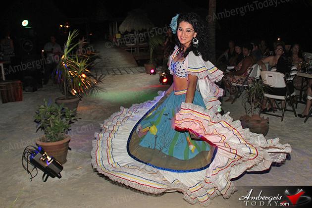 Miss Honduras' Cultural Dress at the International Costa Maya Festival -Noche Tropical at Ramon's Village