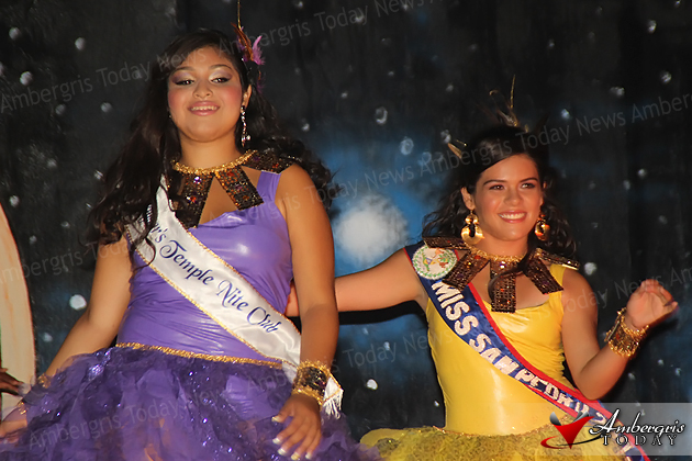 Darcie Zepeda and Miss San Pedro 2012 Yakarelis Hernandez in swimsuit competition at the Miss San Pedro Pageant 2013