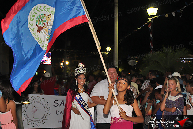 Belize's 31st Independence -Miss San Pedro, Naiely Puc and Severito Guerrero Jr. at the September Celebrations Block Party and Firework Display