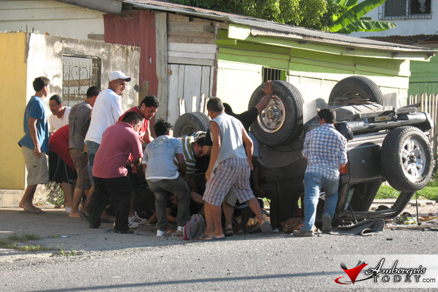 Traffic Accident in Santa Elena/San Ignacio Towns Cayo, Car flips four times