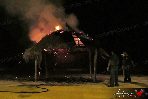Palapa on fire at Boca del Rio Park, San Pedro