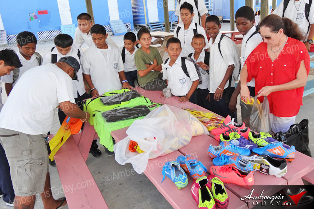 Soccer Equipment Donated to San Pedro RC School Football Team