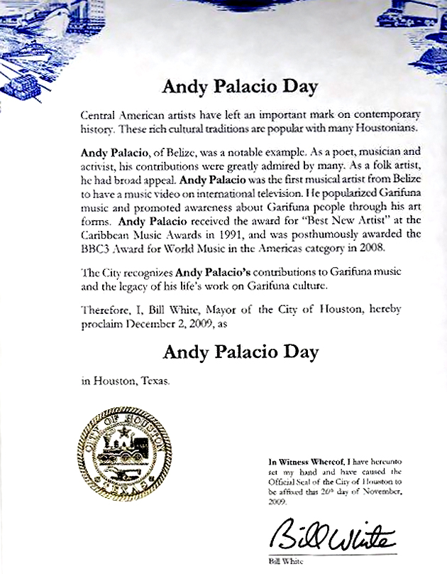 Andy Palacio Day observed in Houston, Texas
