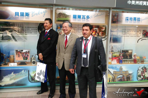 Mayor Guerrero infront of the Belize Booth in the TIATRA Building. TIATRA building is the main venue where trade shows are carried out.